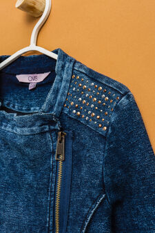 Denim jacket with studs, Denim, hi-res