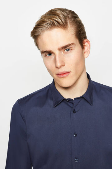 Slim-fit casual shirt in cotton, Blue, hi-res