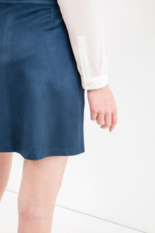 High-waisted skirt with suede effect, Blue, hi-res