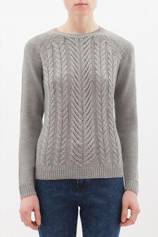 Plain crew neck pullover, Grey, hi-res
