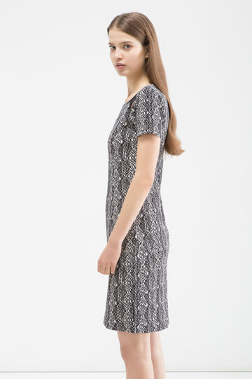 Stretch patterned dress, White/Black, hi-res