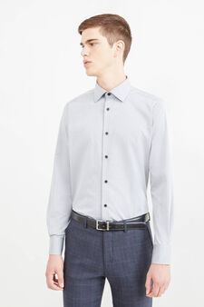 Solid colour slim-fit formal shirt, Grey, hi-res