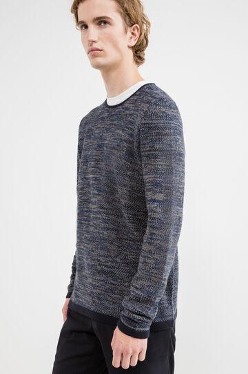 Pullover tricot in misto cotone, Blu navy, hi-res
