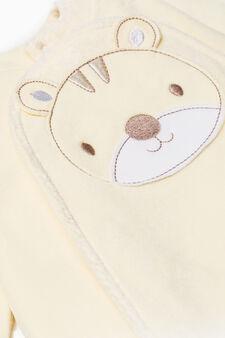 Cotton onesie with feet, Yellow, hi-res