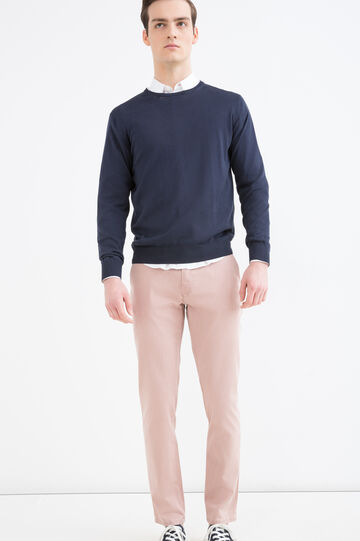 Pantaloni cotone stretch chino slim fit, Rosso, hi-res