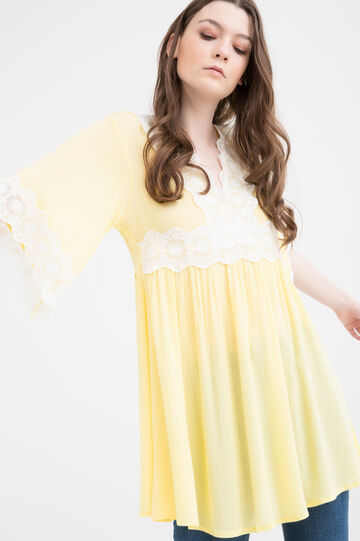 Cotton-viscose blend dress, Yellow, hi-res