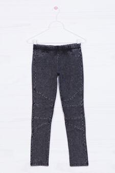 Stretch cotton jeggings, Black, hi-res