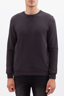 Plain sweatshirt, Dark Grey, hi-res