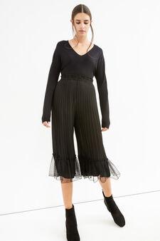 Pantaloni crop a vita alta plissettati, Nero, hi-res