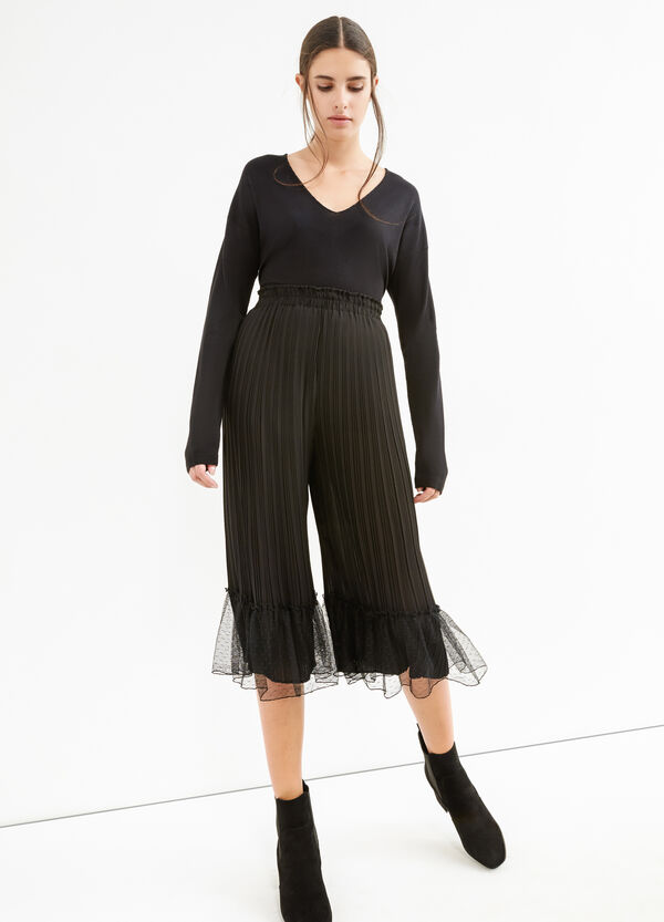 High-waisted pleated cropped trousers | OVS