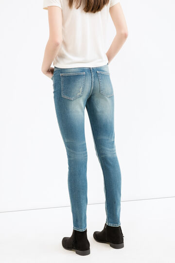 Worn-effect stretch jeans with rips, Medium Wash, hi-res