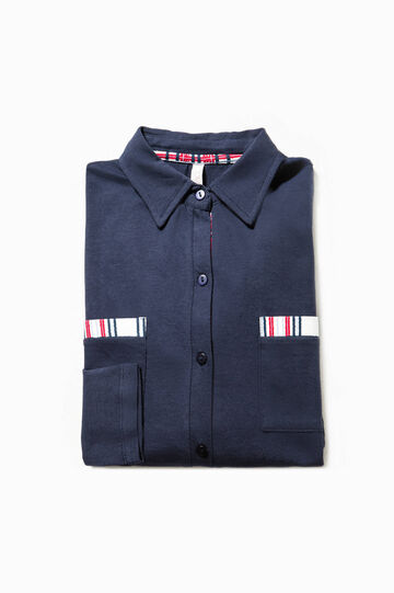 Pyjama top with pleated hem, Navy Blue, hi-res