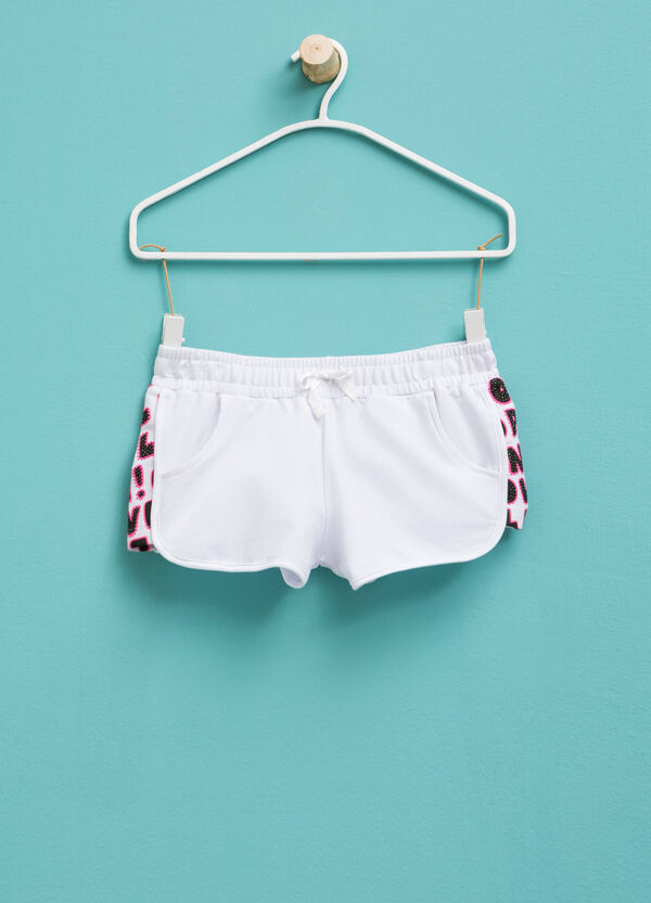 Shorts with print and diamantés | OVS