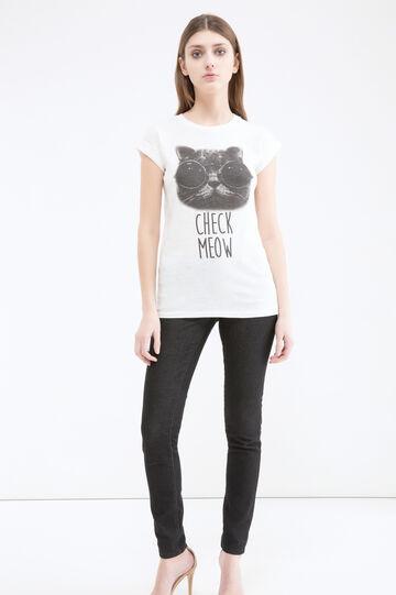 T-shirt cotone stampa gatto, Bianco latte, hi-res