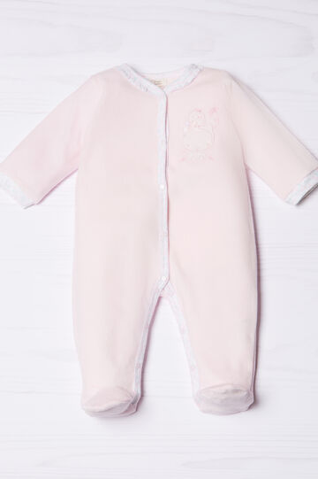 Cotton blend onesie with feet, Pink, hi-res