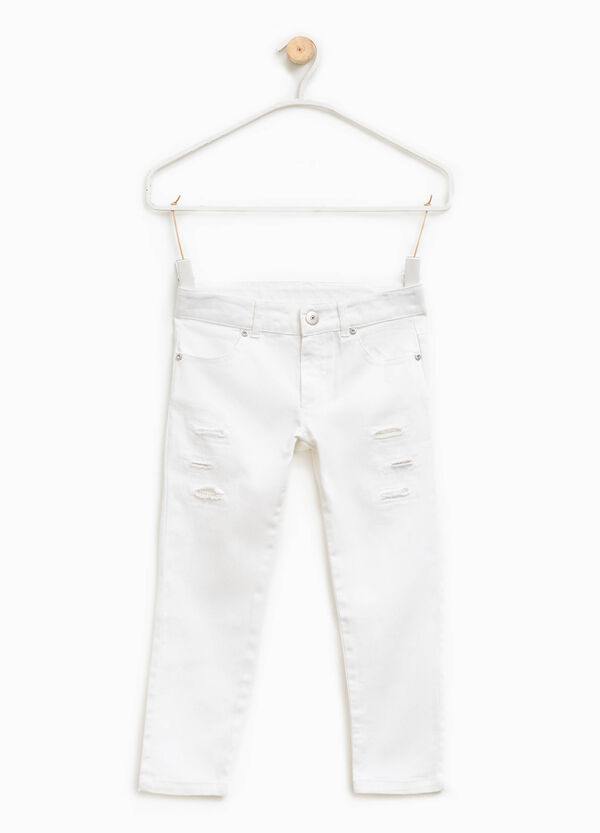 Trousers with abrasions and beads | OVS