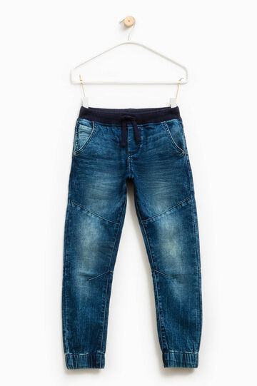 Jeans stretch used con coulisse, Blu, hi-res