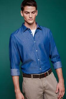 Slim-fit casual denim shirt, Blue, hi-res