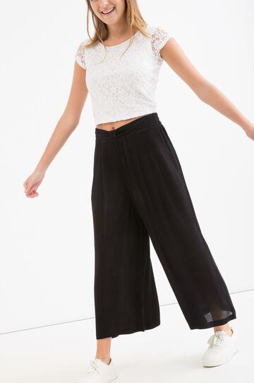 Teen viscose palazzo trousers, Black, hi-res