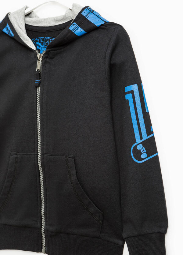Printed sweatshirt with contrasting zip | OVS