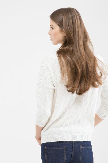 Pullover tricot puro cotone, Bianco, hi-res