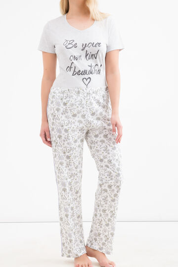Curvy cotton pyjama trousers, White, hi-res
