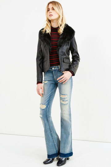 Leather look jacket with fur, Black, hi-res