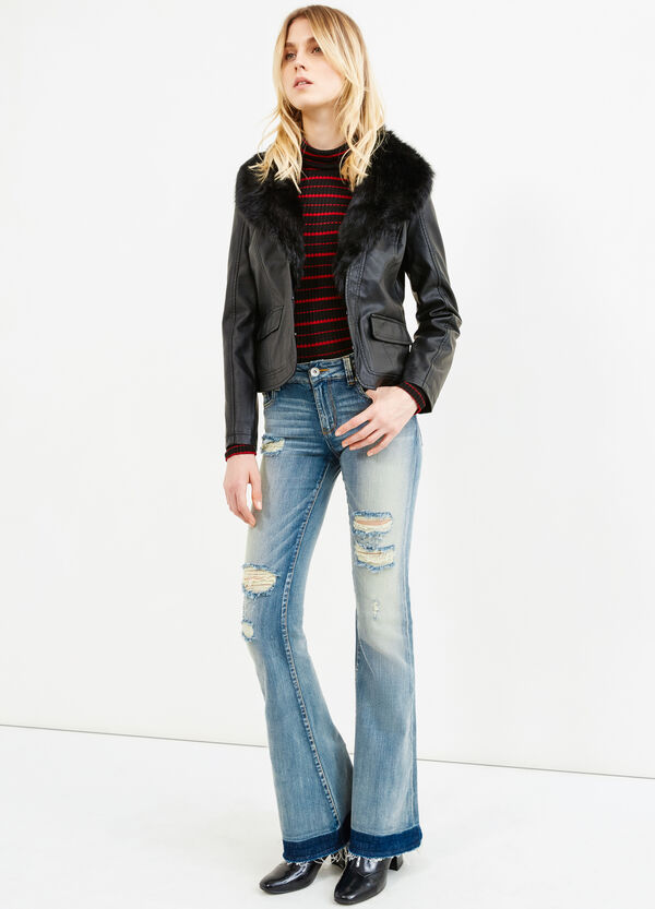 Leather look jacket with fur | OVS