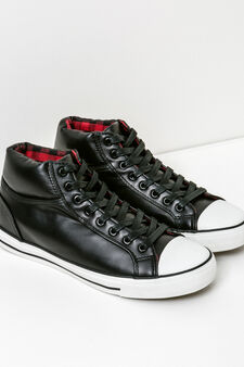 High-top, lace-up sneakers, Black, hi-res