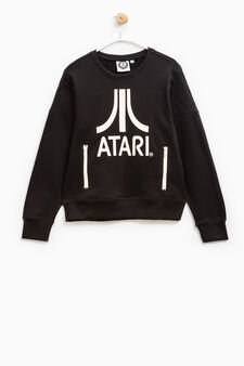 100% cotton sweatshirt with Atari print, Black, hi-res