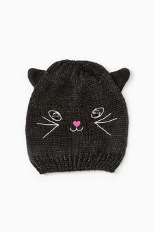 Embroidered beanie cap with ears, Black, hi-res
