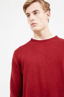 Solid colour pullover with round neck, Red, hi-res