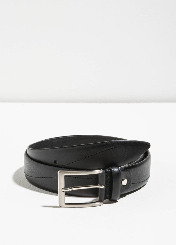 Genuine leather belt with square buckle | OVS