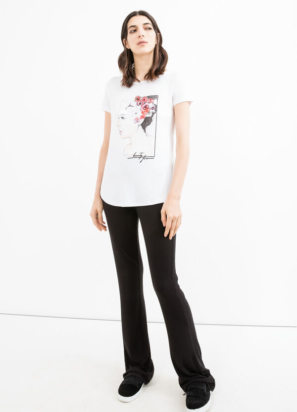 T-shirt in stretch viscose with print and splits | OVS