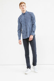 Casual check shirt in cotton, Blue/Light Blue, hi-res