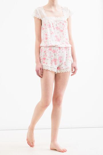 Patterned sleepsuit in 100% viscose, White/Pink, hi-res