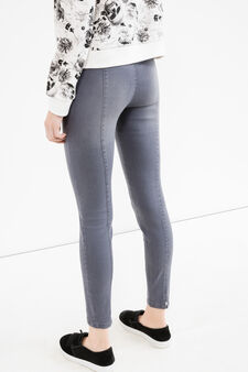 High-waisted stretch jeans with splits, Light Grey, hi-res