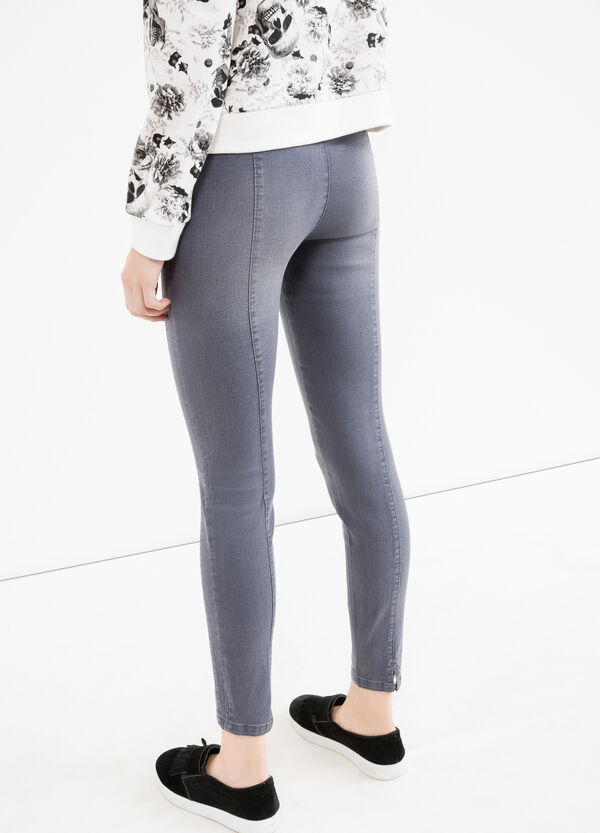 High-waisted stretch jeans with splits | OVS