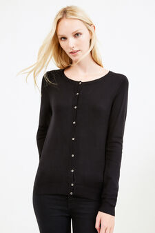 Viscose cardigan with contrasting buttons, Black, hi-res
