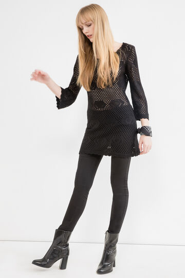 Solid colour short knit dress., Black, hi-res