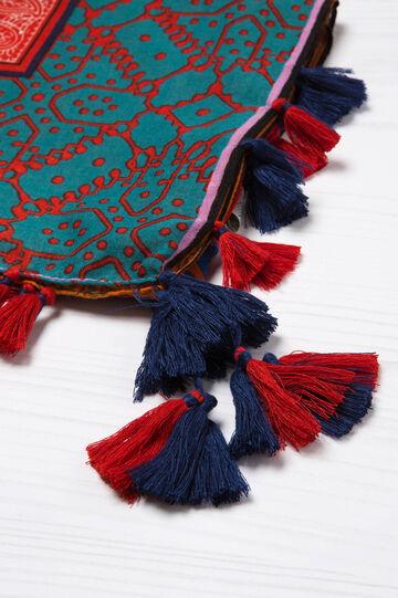 Sciarpa stampata con nappine, Multicolor, hi-res