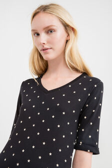 T-shirt in 100% cotton with star pattern, Black, hi-res