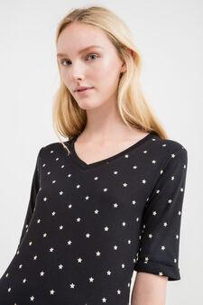T-shirt puro cotone fantasia a stelle, Nero, hi-res