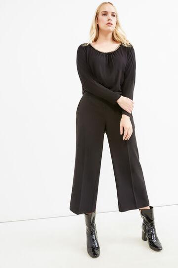 Curvy gaucho model stretch trousers, Black, hi-res