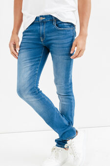 Skinny-fit stretch jeans with whiskering, Light Wash, hi-res