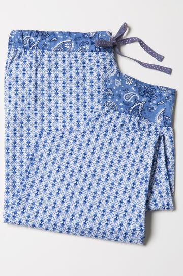 Patterned cotton pyjama trousers, White/Blue, hi-res