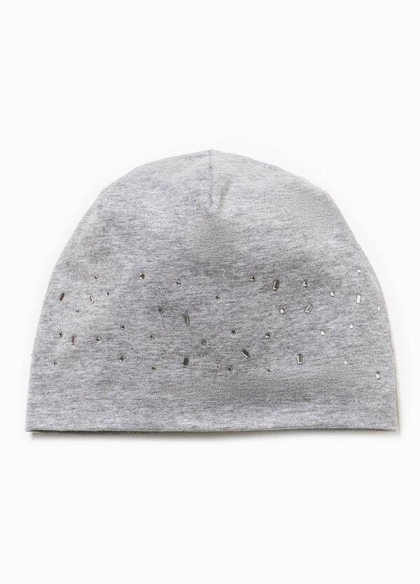 Jersey beanie cap with diamanté motif | OVS