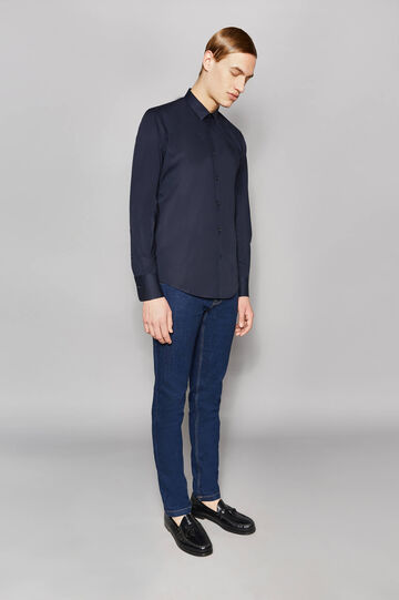 Slim-fit formal shirt in stretch cotton, Navy Blue, hi-res
