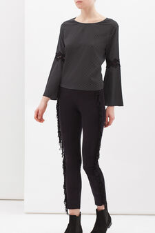 Stretch trousers with fringe, Black, hi-res