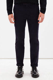 Rumford stretch cotton trousers with zip, Dark Blue, hi-res